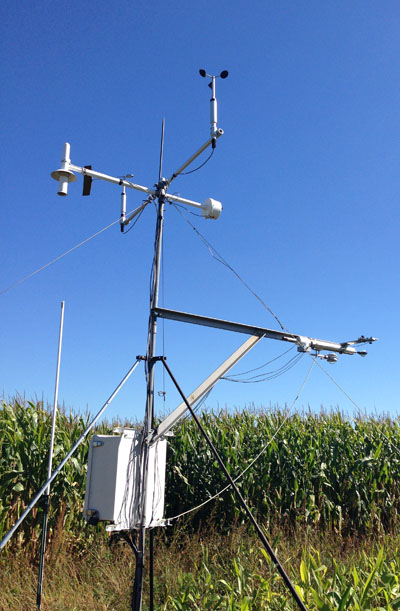 A flux tower measuring environmental conditions at the Fermi Lab site