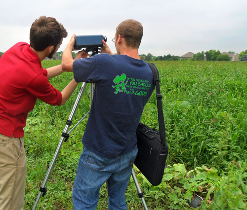 Nick and Gavin set up a Hyperspectral Camera at the Green Earth Institute organic farm in Naperville, 2013